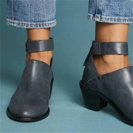 Woman Shoes Low Heels NZ - Thick Heel Cusp Little Leather Boots Autumn Women Shoes Low Heeled Sandals Buckle Large Size Solid Color Wear Resistant 38xh C1