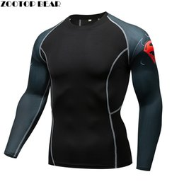 Wholesale mens hooded t shirts online – design MMA Compression Armor T shirt Men quick dry Elastic Base Layer Skin Tight Weight Lifting Top Mens Tee Rash guard Fitness