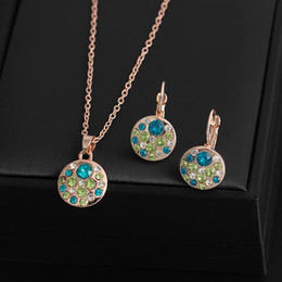 Parure jewelry online shopping - Crystal Jewelry Set Round Style Pendant Necklaces Earrings Jewelry Sets parure bijoux femme engagement wedding party jewelry set