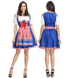 Bavarian costume women online shopping - Women Beer Wench Costume Apron German Traditional Costume Bavarian Beer Girl Oktoberfest Dirndl Dress