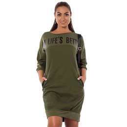 Plus Size Clothing Dresses UK - Letter Print New Women Dresses Large Size Winter Warm Dress Plus Size Women Clothing Casual Elegant Blue Vestidos designer clothes