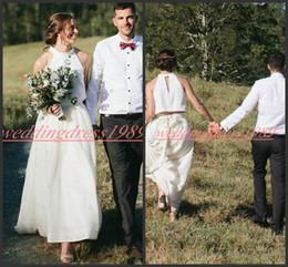 Robe maRiage piece online shopping - Simple Style Two Pieces Wedding Dresses Sleeveless Garden Bohemian Boho Mariage Arabic Plus Size Bridal Ball Gown For Bride robe de mariée