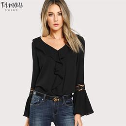 Plain blouses online shopping - Black Ruffle Neck Top Lace Pleated Casual Women V Neck Flare Sleeve Plain Blouse Spring Elegant Blouse