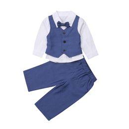 23a3a5ebe 4Pcs Set Kids Boy Gentleman Clothes 2019 New Spring Autumn Long Sleeve Shirt +Waistcoat+Pants+Tie Formal Suit Children Outfits