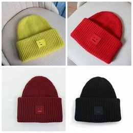 $enCountryForm.capitalKeyWord Australia - 1pc Smiling face Beanie Skull Caps knitted wool thickening warm couple lovers parent-child hats tide street hip-hop wool cap Adult Children
