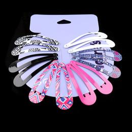 $enCountryForm.capitalKeyWord Australia - fashion accessories 6Pairs Set Fashion Women Girls Print and Solid Snap Clips Glitter Hairpins Colorful Children Hair Accessories