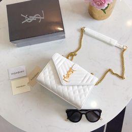 $enCountryForm.capitalKeyWord NZ - Genuine Leather handbags Woc Clutch Blue Lambskin Trendy Shoulder Bag Top with Gold Sequined Brand Women Chain Messenger Mini Flap