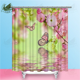 Vixm Pink Flower And Butterfly Of An Oriental Cherry Shower Curtains Plant Violet Polyester Fabric For Home Decor