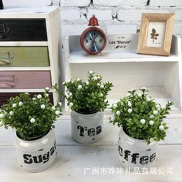 Wholesale Fake Plant Decoration Auspicious fruit Potted Artificial House Table Plant Green Decorative Small Artificial Plants With Printed Iron Bucket
