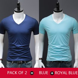Solid Pack Australia - Pack of 2 2019 Modal T-Shirt Men Solid Color T Shirt Man's Fashion Tshirt Short Sleeves Smooth Slim Fit Casual tee shirt male