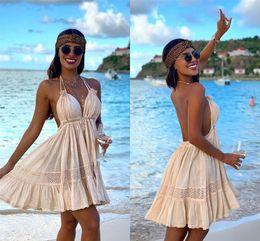 Ingrosso Estate breve Bohemian Dress Party Cheap 2019 Spaghetti Strap Backless Bohemian Beach Holiday Dress spedizione veloce yl57-2136
