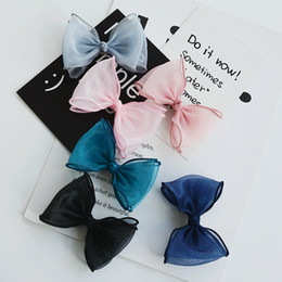 Dog Grooming Hair Clip Australia - 2019 8cm new Dog Grooming Clip Pet Chiffon bow Hairpin Headdress Girls Large Bow Hair Flower Card for Dogs Hairpin Accessories 20pcs lot