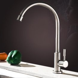 Quality kitchen taps online shopping - High quality Degree Rotation Stainless Steel Single cold Kitchen Faucet Tap Brushed nickel