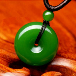 Carving Chains online shopping - Natural Green Chinese Jade Donut Pendant Jadeite Necklace Charm Jewellery Fashion Accessories Hand Carved Luck Amulet Gifts