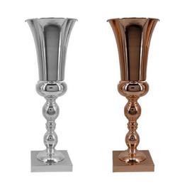 $enCountryForm.capitalKeyWord Australia - 43cm Large Stunning Silver Iron Luxury Flower Vase Urn Flower Pot Wedding Decorations Table Home Decoration Square Base