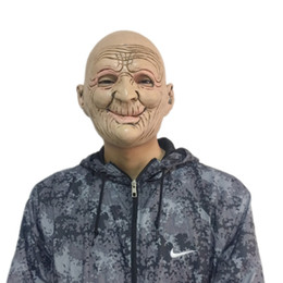 Party Face Mask Sizing Australia - Funny Smiling Old Man Latex Mask Halloween Realistic Old People Full Face Rubber Masks Masquerade Cosplay Props Adults Size
