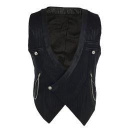 $enCountryForm.capitalKeyWord Australia - Black Striped Satins With Chain V Neck Steampunk Waistcoat Victorian Vest Vintage Gothic Clothing Men Medieval Cosplay Jacket