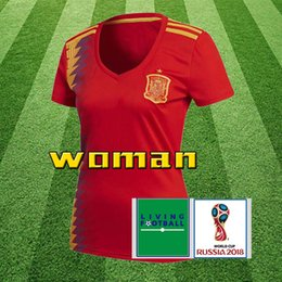30549ecc3 Women Spain Thailand red Soccer Jersey 2018 world cup Spain home soccer  jersey  22 ISCO  20 ASENSIO  15 RAMOS Football Cheap and fine