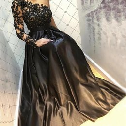 $enCountryForm.capitalKeyWord NZ - Elegant Black Satin One Shoulder Prom Dresses 2020 Plus Size Lace Appliques Sequins A Line Evening Gowns Long Sleeve Belt Vestidos AL2530