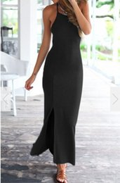 $enCountryForm.capitalKeyWord Australia - Casual Dress for Woman Summer Vintage Girl Simple Solid Beach Wed Stretch Party Dresses Sexy Backless Bandage Maxi Dress Lady Female Clothes