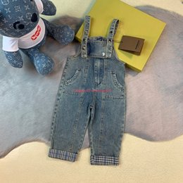 bohemian style pants NZ - Children bibs kids designer clothing autumn new boys and girls denim overalls pants plaid chest zipper design retro style