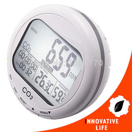 indoor air quality monitor NZ - Freeshipping 3-in-1 Round Desktop Indoor Air Quality Temperature Humidity RH Carbon Dioxide Digital CO2 0~2000ppm Monitor Meter Clock
