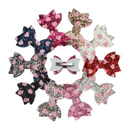 Baby Sequin Hair Clips Wholesale Australia - Baby Love Heart Glitter Hairpins Girl Sequin Bling Bowknot Hair Clip Cute Princess Barrettes Headwear Hair Accessories TTA763