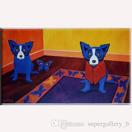 lovely paintings NZ - Lovely blue dog Handpainted & HD Print Abstract Animal Art oil painting Home Wall Decor on High Quality Canvas Multi Sizes a123