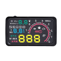 """China 5.5"""" New Car HUD Head Up Display KM h & MPH Speeding Warning OBD2 Interface Windshield Projector Multiple-Color Bright System cheap car hud obd2 suppliers"""