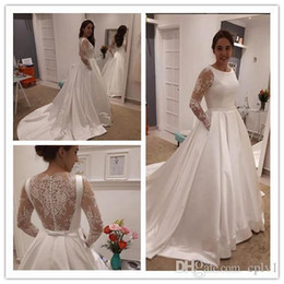 $enCountryForm.capitalKeyWord Australia - A Line Satin Plus Size Wedding Dresses Cheap Lace Long Sleeves 2018 Vintage milla nova Bridal Gowns Formal Dresses With Belt
