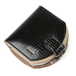 hobo wallet purse Canada - 2020 New Croco Design Mini Wallets Women Hobo Purses Fashion Patent Leather Coin Wallets Red and black Female Money Bag 1PCS Free Shipping