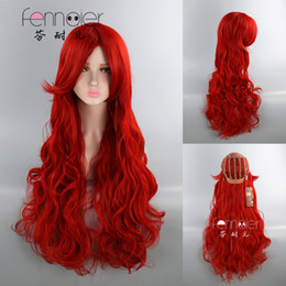 Long Hair Oblique Bangs Australia - Red long curly hair oblique bangs ladies high temperature silk natural realistic deep red cosplay wig