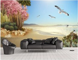 $enCountryForm.capitalKeyWord Australia - WDBH 3d wallpaper custom photo Seaside tropical plants flowers and birds living room home decor 3d wall murals wallpaper for walls 3 d