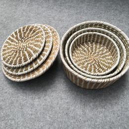 $enCountryForm.capitalKeyWord Australia - Round receipt tray made of explosive straw candy basket desktop receipt basket tea table receipt basket snack tray dried fruit tray