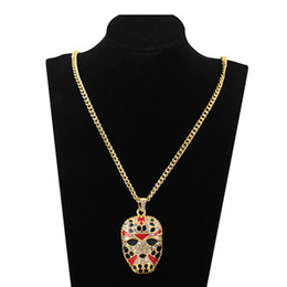 Wholesale Hot Sale Unisex Hiphop Mask Rhinestone Necklace Women Men Face Crystal Long Chain Night Club Daily Jewlery