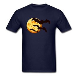 blue cotton men Australia - 2019 Cute Halloween Bats & Moon Print T Shirt Men Navy Blue Short Sleeve Cotton Fabric Tee Shirt Breathable Cartoon Clothes