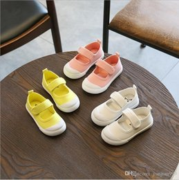 Girl Shoes Canvas Australia - Girls Shallow Mouth White Shoes Summer Breathable Kindergarten Baby Shoes Student Children Magic Stickers Canvas Shoes Tide