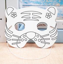 Face Masks For Painting NZ - Kindergarten Painting Handmade DIY Graffiti Blank Mask Art Material Animal Tiger Cartoon Paper Mask Painting Suitable for Children