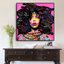 Pictures Oil African Australia - 1 Pcs Watercolor African American Woman Oil Painting on Canvas Scandinavian Posters and Prints Wall Picture for Living Room No Frame