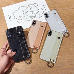 $enCountryForm.capitalKeyWord Australia - Wrist Strap Band & Holder Case For iPhone XR XS MAX X 7 8 Plus 6 Glitter Fashion Non-slip Starry Sparkle Transparent Wrist Strip Phone Cover