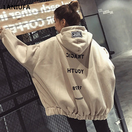 Women Letter Print Hoodie Fashion Thick Sweatshirts Long Sleeve Loose Streetwear Female Hooded Jumper Hooded Pullover Casual Tops on Sale