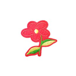 Sewing Cloth Wholesale Australia - Embroidered cloth patch 5cm * 5.2cm flower shape appliques Back gum Ironing stick sewing decorative patches clothing accessories DL_CPIF013