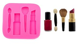 Lipstick rubber online shopping - makeup tools lipstick nail polish chocolate Party DIY fondant cake decorating tools silicone mold Cake Tools