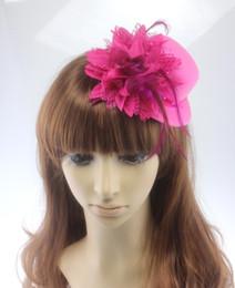 $enCountryForm.capitalKeyWord Australia - 13cm Fashion Lady's Mini Hat Hair Clip Feather Rose Pearl Top Cap Lace fascinator Costume Accessory bride headdress Plumed Hat