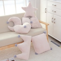 Plush Throw Pillows Australia - Moon Plush Pillow Super Soft Pink Crown Yellow Star Heart Bow Colorful Stuffed Throw Pillow Sofa Cushion Girl Room Studio Decor