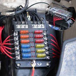 12 way 32v blade fuse box holder with led warning light kit for car boat  marine trike