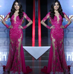 Miss Sexy Dress Australia - Miss World Pageant Sexy See Though Hot Pink Lace Tull Prom Dresses Illusion Long Sleeves Mermaid Formal Arabic Evening Party Gowns 2019