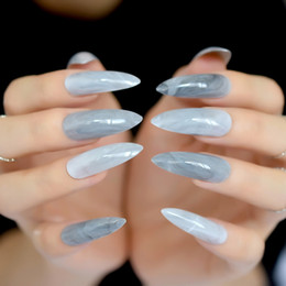 long finger nails Australia - Extra Long Gray Marble Stiletto False Nails Tips Oval Sharp End Stilettos Fake Nail ABS Artificial DIY UV Gel Nail Art Tips