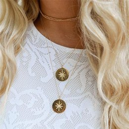 Yellow Gold Coin Australia - Simple Boho Coins Gold Chockers Necklace Silver Round For Women Coin Necklaces Pendants Choker Necklace Wedding Jewelry ALXY03