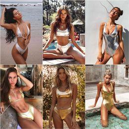 $enCountryForm.capitalKeyWord Australia - New Gold Silver Bright Leather Bikini Swimsuit Two-piece Suit For Women Female Bandage Micro Bikinis Biquini Swimwear Set J1906113